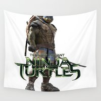 ninja Wall Tapestries featuring ninja,turtle by ira gora