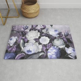 Periwinkle Roses Gray Birds Temple of Flora Rug