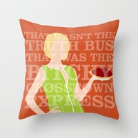 pushing daisies Throw Pillows featuring Pushing Daisies - Olive by MacGuffin Designs