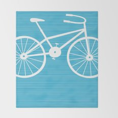 Blue Bike by Friztin Throw Blanket
