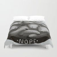nope Duvet Covers featuring Nope by Tobe Fonseca