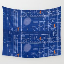 Blue Blueprint with Construction Workers & Tennis Racquet Wall Tapestry