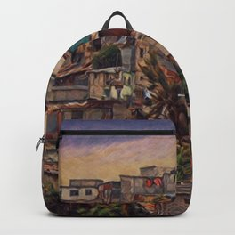 Guatemala City Slum Artistic Illustration Old and Chaotic Style Backpack