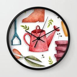 Garden Tool Illustration Wall Clock