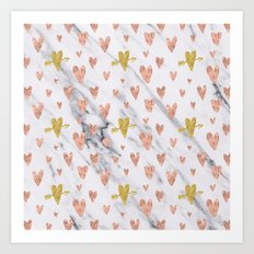 Valentines Day Rose Gold Hearts Marble Design Love and Romance Art Print