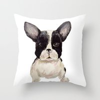frenchie Throw Pillows featuring Frenchie  by craftberrybush