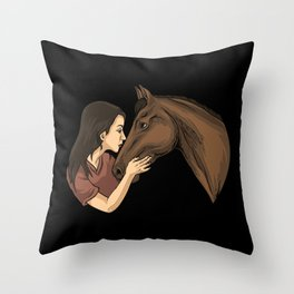 Girl Kissing A Horse Throw Pillow