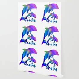 Rainbow Dolphins swimming in the sea Wallpaper
