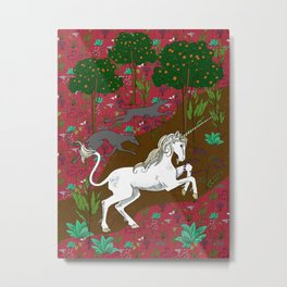 Unicorn Tapestry: the Unicorn Hunt Metal Print