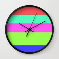 striped Wall Clocks featuring striped by McKenzie Nickolas