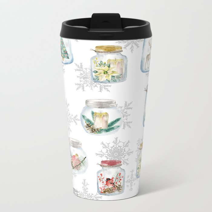 Christmas glass jars Metal Travel Mug