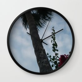 Palm tree and red flower Wall Clock