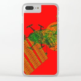 Explorer Schematic Warped Green on Red Clear iPhone Case