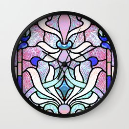 Delicate Stained-glass in Victorian Blue Detail Wall Clock