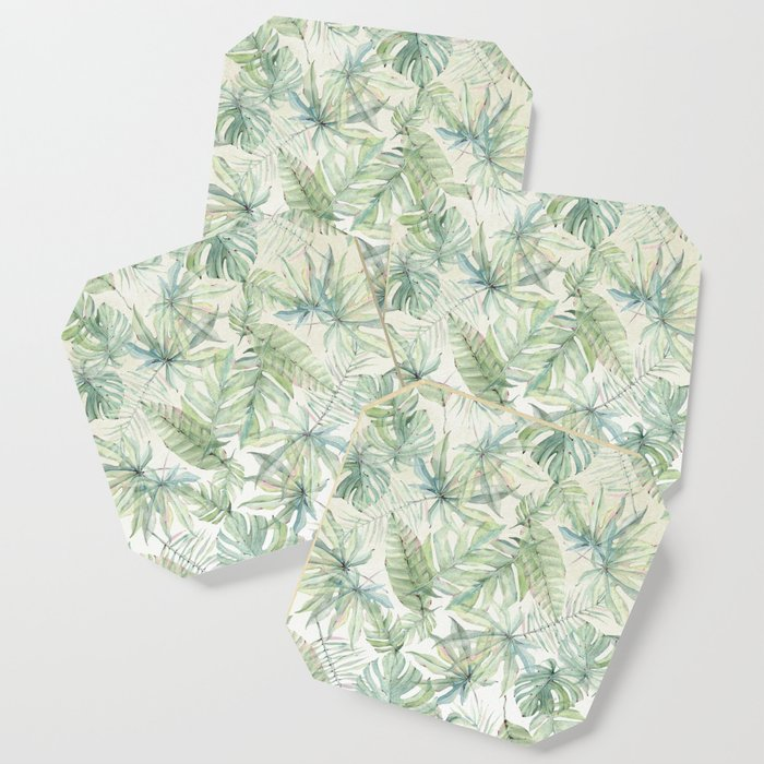 Green Tropical Leaves Coaster