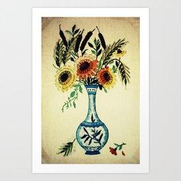 stitches of flowers. Art Print