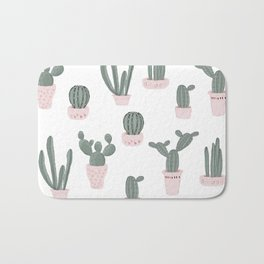 Elegant Cacti in Pots Pattern Bath Mat