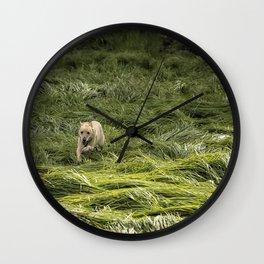 Happiness is Running Through a Field of Grass Wall Clock