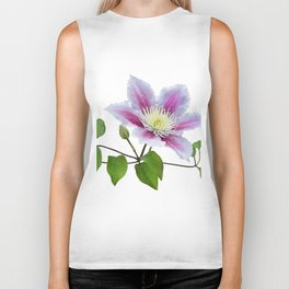 Purple clematis on a stem isolated on white background Biker Tank