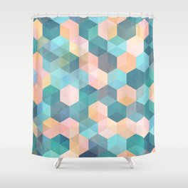 Child's Play 2 - hexagon pattern in soft blue, pink, peach & aqua Shower Curtain