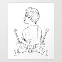 niall Art Prints featuring Niall Girl by Ashley R. Guillory