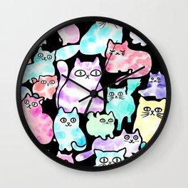Inky Cats Black Wall Clock