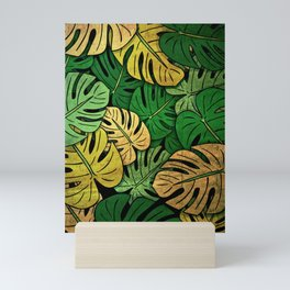 Grunge Monstera Leaves Mini Art Print