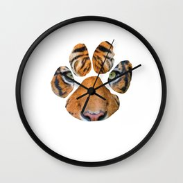 Cool Tiger Eyes Paw Lion Enthusiasts Graphic Tee Shirt Gift   Vintage Siberian Mammal Lover Men Wall Clock