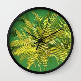 Golden Fern, Floral Painting Green Yellow  Wall Clock