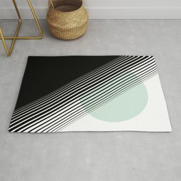 Rising Sun Minimal Japanese Abstract White Black Mint Green Rug
