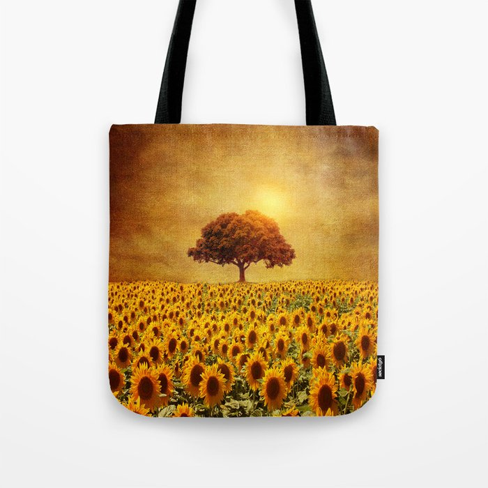 lone tree & sunflowers field (II) Tote Bag