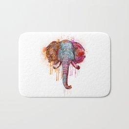 Watercolor Elephant Head Bath Mat