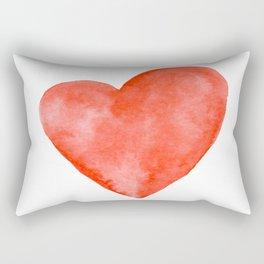 Red Watercolor Heart Rectangular Pillow