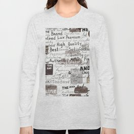 Grunge hipster pattern with different words and signatures Long Sleeve T-shirt
