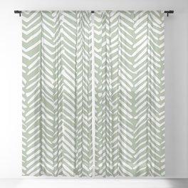 Boho Herringbone Pattern, Sage Green and White Sheer Curtain