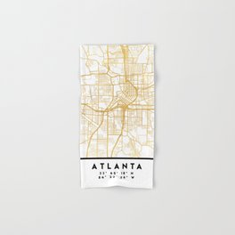 ATLANTA GEORGIA CITY STREET MAP ART Hand & Bath Towel