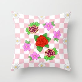 Pixel Flower Pattern Throw Pillow