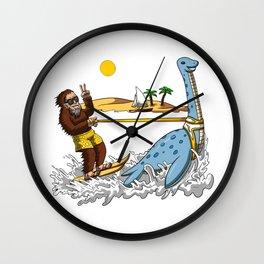 Bigfoot Riding Loch Ness Monster Conspiracy Wall Clock
