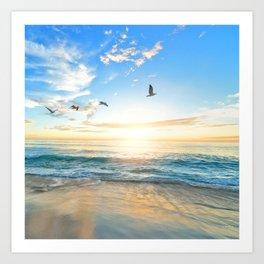 Blue Sky with Birds Art Print