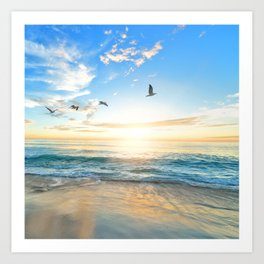 Blue Sky with Birds Art Print
