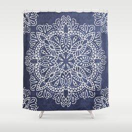 Mandala Vintage White on Ocean Fog Gray Shower Curtain