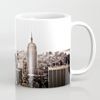 new york skyline Mugs featuring New York City Skyline by Vivienne Gucwa