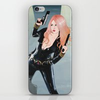 black widow iPhone & iPod Skins featuring Black Widow by Crecre