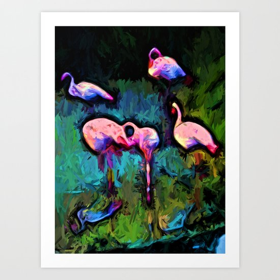 Pale Pink Flamingos with some Blue Art Print