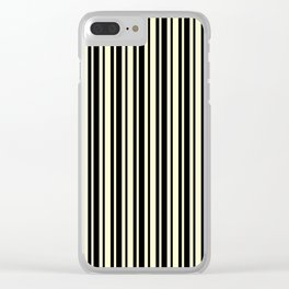 Cream Yellow and Black Vertical Var Size Stripes Clear iPhone Case