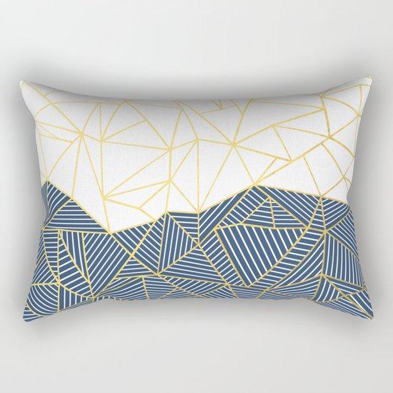 Ab Half and Half Navy Gold Rectangular Pillow