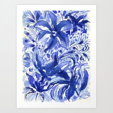 Blue flowers. Art Print