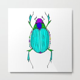 Egyptian Scarab Beetle Turquoise Metal Print