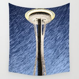 Seattle Space Needle rainy Night Wall Tapestry