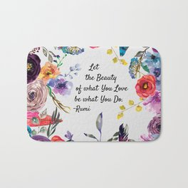 Let Beauty Take Over Typography Art Bath Mat